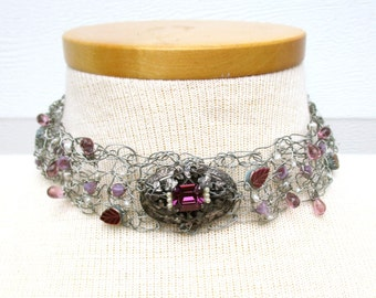 Necklace Wedding Choker Steampunk Statement Recycled Repurposed Wire Crochet Vintage Pearl Purple Made To Order Custom Order Convo Me