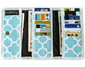 Light Blue, purse ,wallet for women,Cotton fabric - Mia printed Canvas