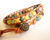 Gemstone Bracelet Jasper Jewelry Leather Wrap Bracelet Desert Rose Mix