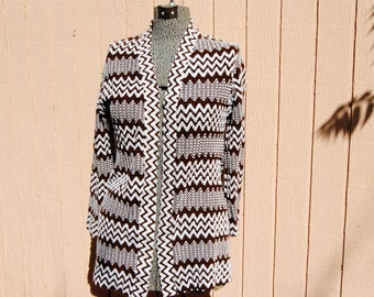 Vintage 1970's Retro Cardigan with Brown and White Chevron Pattern