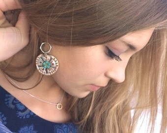 Mandala Om  EARRINGS, beaded dangle earrings, boho earrings, tribal earrings, yoga earrings,polymer clay earrings, mandala earrings, ZASRA