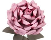 Mauve Leather Rose third Anniversary wedding gift Long Stem leather flower Valentine's Day 3rd Leather Anniversary Mother's Day