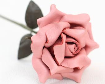 Leather rose pastel pink third Anniversary wedding gift Long Stem leather flower Valentine's Day 3rd Leather Anniversary Mother's Day