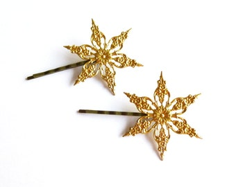 Winter Accessories Snowflake Bobby Pins Bridal Hair Clips Bride Bridesmaids Girls Gold Stars Nature Snow Ice Weddings Womens Gift For Her