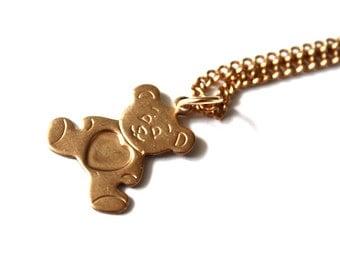 1960s Teddybear Necklace  // Teddy Heart // 50s 60s Jewellry // Handmade Vintage Necklace // Baby Gift