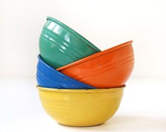 Vintage Fiesta Go Along Metal Popcorn Bowls
