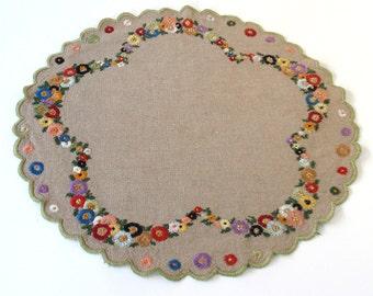 Vintage Embroidered Natural Linen Cloth