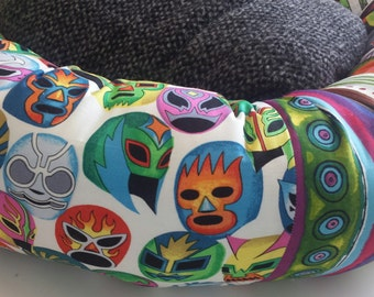 the NACHO LIBRE Luchador Donut Dog Bed Wrestling Mexican