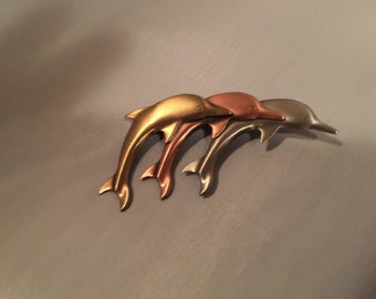 Triple Dolphins Brooch