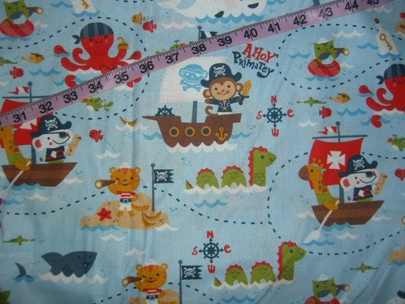 Kids flannel fabric monkey pirate ship sea monster cotton for Kids pirate fabric