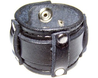 Item 072310 Black Belted Leather Wrist Cuff
