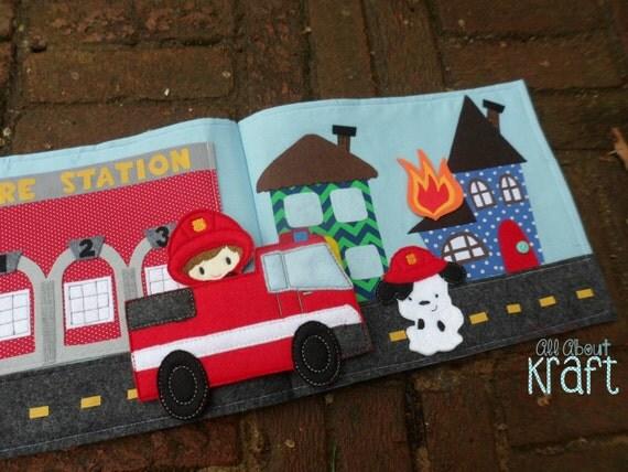 Stocking Stuffer Fireman Quiet Book Christmas Gift For