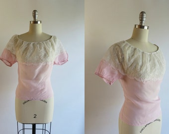 Vintage 1950s Blouse / Pink Blouse / Peasant Blouse / Sheer Blouse Lace Blouse 50s Shirt Peasant Top in Pink