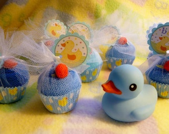 Just Ducky...Baby Shower Favors...Washcloth Cupcakes...Duck Themed Baby Shower...Bundle of 10...One Free :)