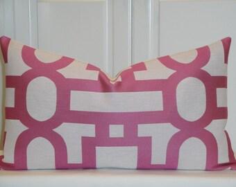 Decorative Pillow Cover - Fuchsia Pillow - Trellis Pillow - Lattice - Geometric - Candy Pink Pillow
