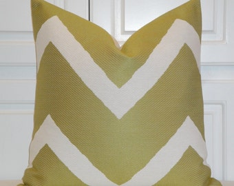 Decorative Pillow Cover - IKAT Zig Zag - Lime Green - Sofa Pillow - Large Chevron Stripe - Modern Pillow