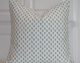 BOTH SIDES - Aqua And White Ikat Decorative Pillow Cover - Throw Pillow - Accent Pillow - Blue Dot - EURO Sham