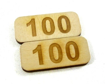 100 Point Counters, Set of 8 Birch
