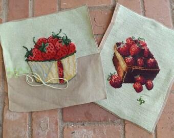 Needlepoint Strawberry Basket