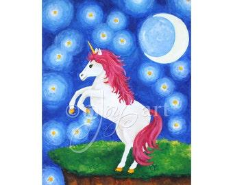 "Art for Girls Room, Unicorn Under Starry Night,  16""x20"" inch art print for childrens room"