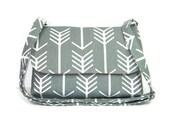 Small Handmade Gray Pocketbook, Arrow Purse, Canvas Cross Body Bag, Small Messenger Bag for Women, Fabric Purse, Gray White Bag, Handbag