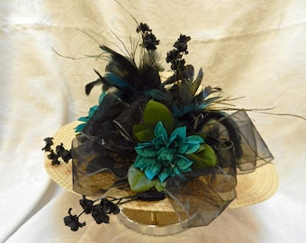 Kentucky Derby Hat natural  straw color teal dahlias black roses sheer black ribbon teal and black feathers