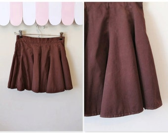 "vintage 1960s little girl's skirt - SEMI-SWEET chocolate brown full skirt / 10-12 yr / 24.5"" waist"