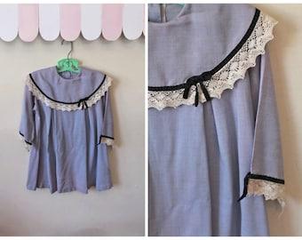vintage 1960s girl's dress - LILAC purple dress with bib collar / 6-7yr