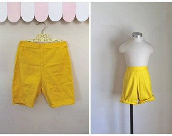 vintage 1960s shorts - SUNSHINE YELLOW summer pants / 14yr / XXS