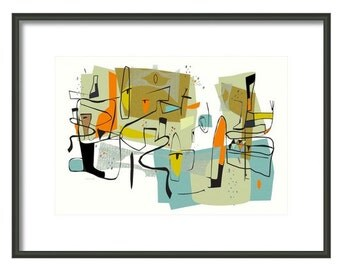 Fairview 1954 Googie art signed and numbered