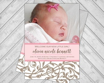 Custom baby girl announcements cards - pink and brown photo cards - digital printable file (269)