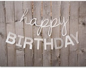 Silver Glitter Happy Birthday Banner - 30 and 45 inches long - Happy Birthday Sign - silver glitter cardstock, photo prop - Ready to ship