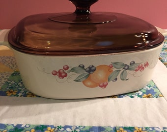 Vintage Abundance Fruit Pattern Corningware 2 Liter Cooking Pan With Lid Made in the USA #2167