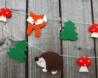 Fox Garland, Hedgehog Garland, Woodland Garland, Felt Garland, Woodland Nursery, Felt Animal,  Woodland Baby Shower, Woodland Party