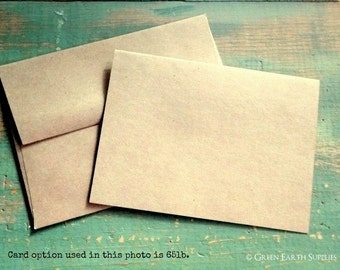 "A2 Kraft Cards & Envelopes, Folded Kraft Brown Cards, Blank Note Cards / Envelopes, Eco Recycled, 4 1/4"" x 5 1/2"" (108 x 140mm), Set of 50"