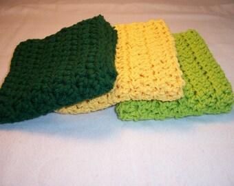"Set of 3 Handmade Crocheted Dish/Wash Cloths - Crochet Dishcloths - Kitchen Dishcloths - 100% Cotton - 9"" x 9"""