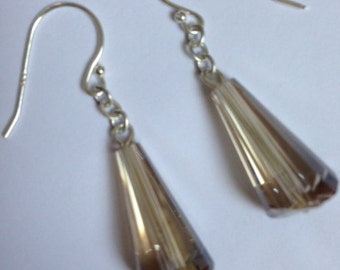Champagne Crystal Sterling silver earrings