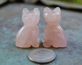 Two (2)  Rose Quartz CAT Beads 25 X 15 X 17 mm