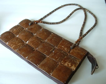 Vintage Coconut Purse 1940 Hawaiian Coconut Shells Stitched All Original