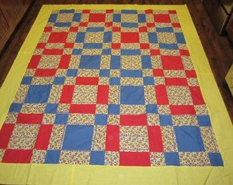 Retro Flowers Quilt Top- 73x86 inches