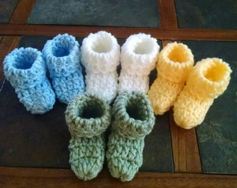 Crochet Easter color baby booties (set of 4) boy or girl colors you choose.