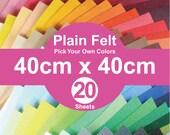 20 Plain Felt Sheets - 40cm x 40cm per sheet - pick your own colors (A40x40)