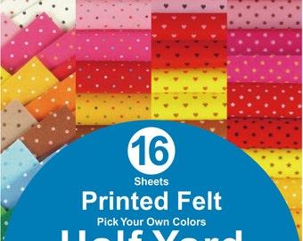 16 HALF YARD Printed Felt Fabric - pick your own colors (PR1/2y)