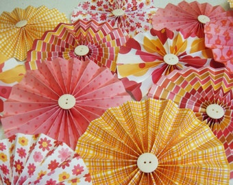 Rosette Pleated Paper  Flowers set of 18 Luncheon baby showers weddings you choose colors