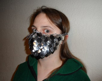Scale Mail Armor Masks - Silver and Black