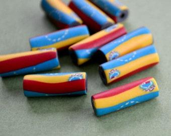 4 Flag Beads Venezuela 7x18mm Polyclay Polymer Clay Jewelry