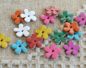 16 Leather Flowers 13x13mm Mixed Colors Die Cuts Jewelry Supplies