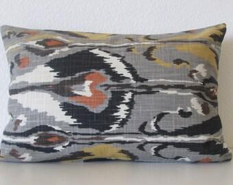 Ikat gray red brown robert allen ikat bands 12x18 pillow cover decorative pillow cover