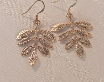 Leaf Earrings, Dangly Earrings, Gift For Her, Gold Earrings