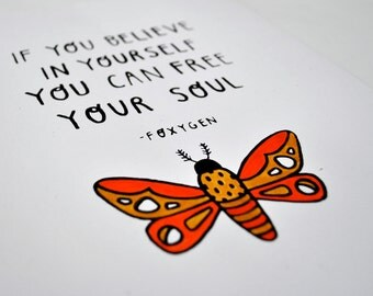 Foxygen Moth Inspirational Hand Pulled Screenprint with Watercolor Detail